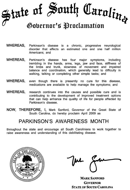 Proclamation by SC Governor for 2009