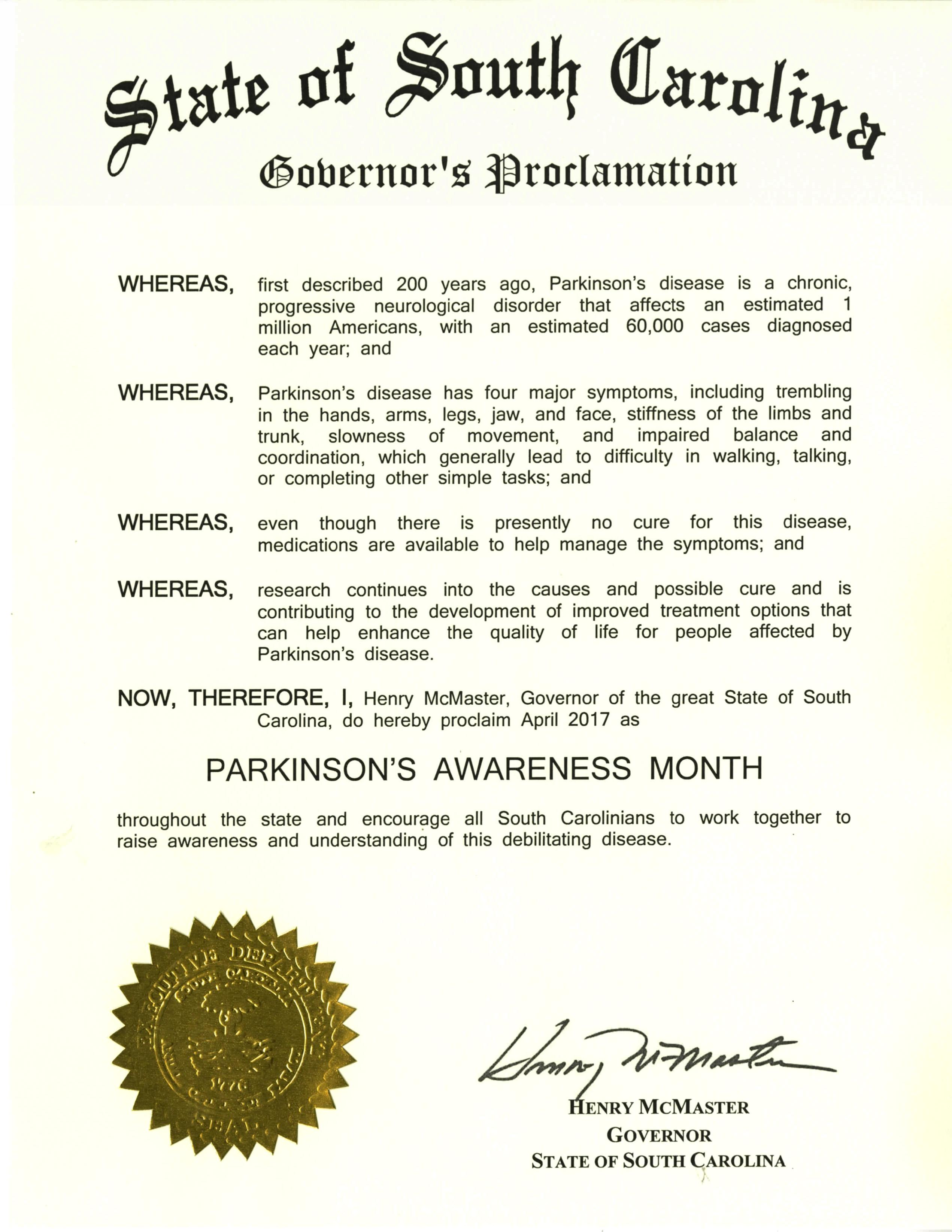 2017 Parkinson's Awareness Proclamation