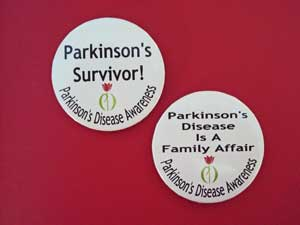 Photo of Parkinson Awareness Buttons